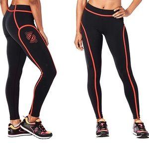 Zumba Strong pipe leggings black red